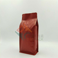 Matte Red Flat Bottom Barrier Coffee Bags with One Way Valve
