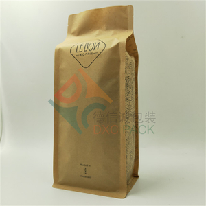 Brown Kraft Biodegradable Flat Bottom Coffee Packaging Pouches with Valve