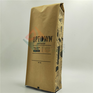 1kg Quad Seal Kraft Paper Coffee Bags with Degassing Valve