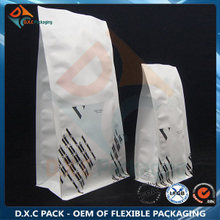 Matte White Customized Design Coffee Bean Flat Bottom Bag with Wicovalve