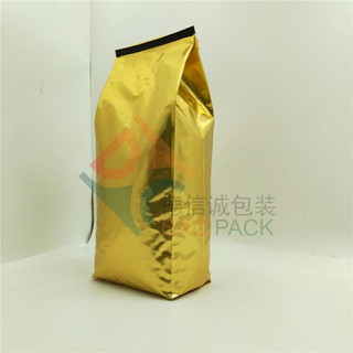Aluminum Side Gusset Foil Coffee Bags with Tin Tie in Gold Color