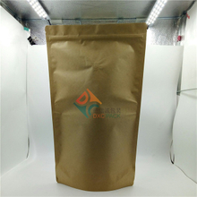 Brown craft paper stand up pouches with valve used in food packaging