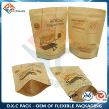 Kraft Paper Bag with Custom Window & Zipper For Food Stand Up Pouch
