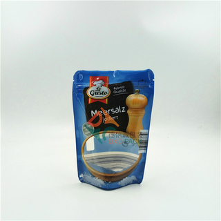 Heat Seal Zipper Closure Grain Oatmeal Food Packaging Bags Stand Up Pouches with Clear Window