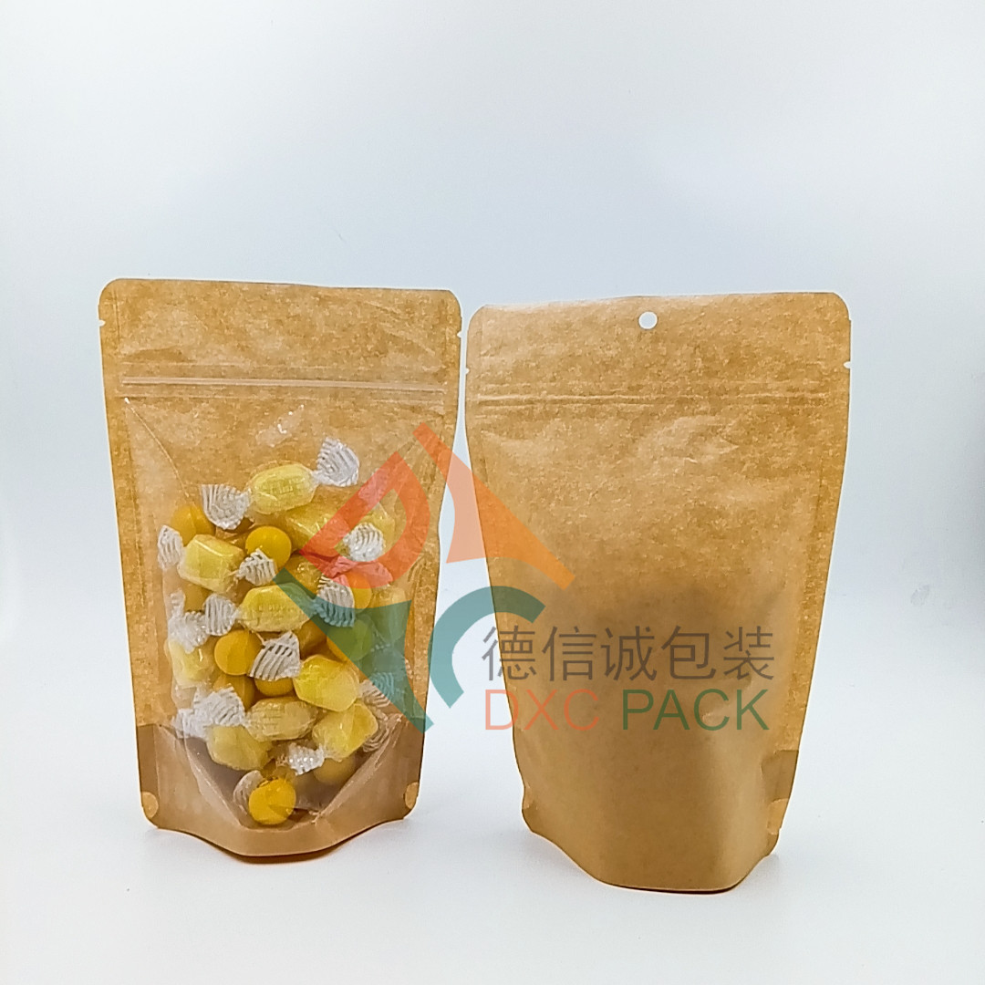 Customized clear plastic food packaging stand up pouch bags