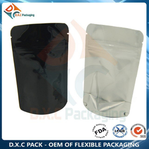 Food Grade Customized Transparent Aluminum Foil Stand Up Grain Packaging Bag With Zipper