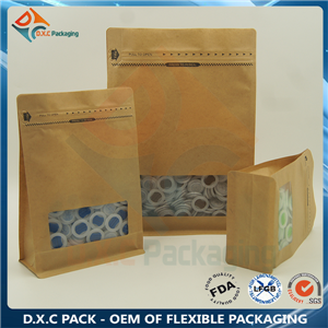 Flat Bottom Paper Bags With Pocket Zipper Ziplock Bag For Food Packaging