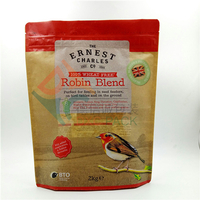 Kraft Window Stand Up Bird Treats Bag with Powder Proof Zipper