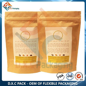 Customized Printing Self Heating Kraft Paper Zipper Stand Up Pouches for Whey Protein Health Food Packaging