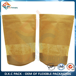 Customized Window Zip Closure Kraft Paper Stand Up Pouches For Oatmeal Packaging