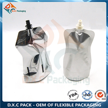 High barrier material shaped spout pouch for liquid packaging