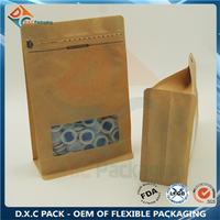 Kraft Paper Window Flat Bottom Pouch Bag With Zip Top