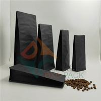 Black Kraft Paper Block Bottom Side Gusseted Bags for Food in Stock