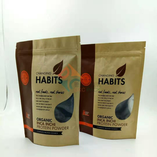 Bulk Zipper Kraft Paper Stand Up Pouches for Whey Protein Health Food Packaging