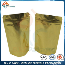 Aluminum foil Stand Up Pouch with Zip Closure for Food - Clear/Gold