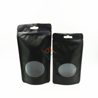 Custom Printed Black Matte Zipper Stand Up Pouches Snack Food Packaging Bags with Clear Window