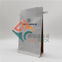 Custom Printed Foil Flat Bottom Tin Tie Coffee Bags With Valve