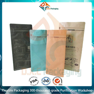 1kg Customized Printing Kraft Paper Flat Bottom Pouch with Pocket Zipper and degassing valve