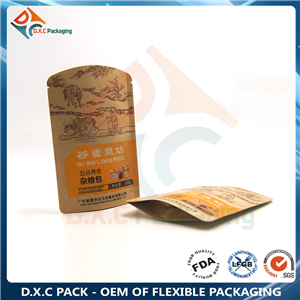 Kraft Paper Shaped Pouch With Zipeer For Grains Packaging