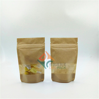 Clear eco friendly craft paper stand up pouch for food packaging