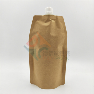 Kraft Paper Shaped Stand Up Pouch with Top-mounted Spout
